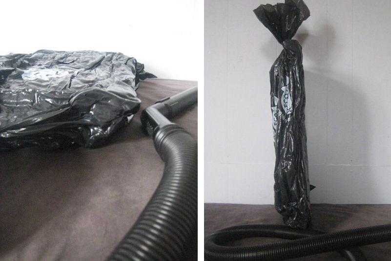 Space storage bag hack using garbage bag