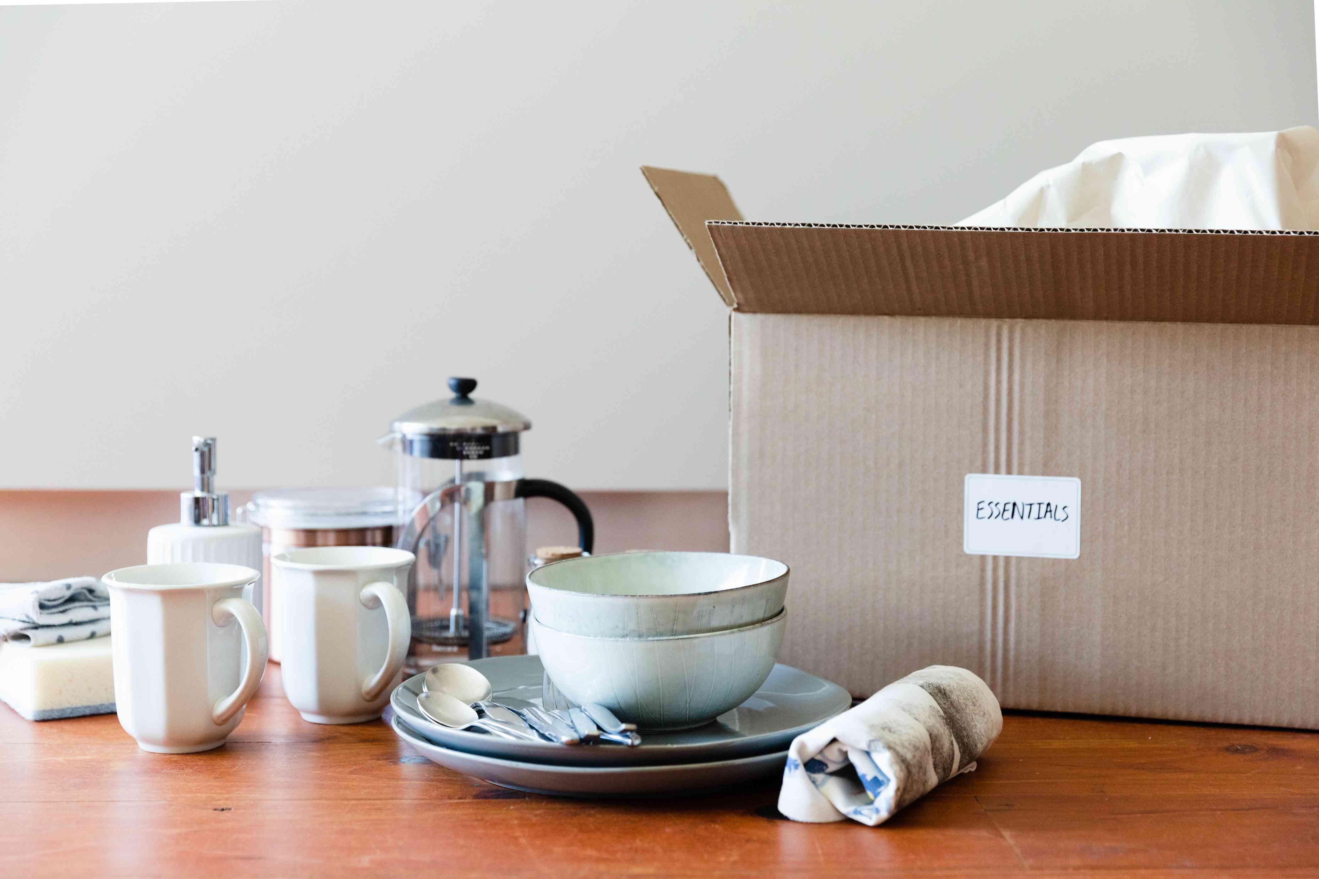 preparing a kitchen essentials box