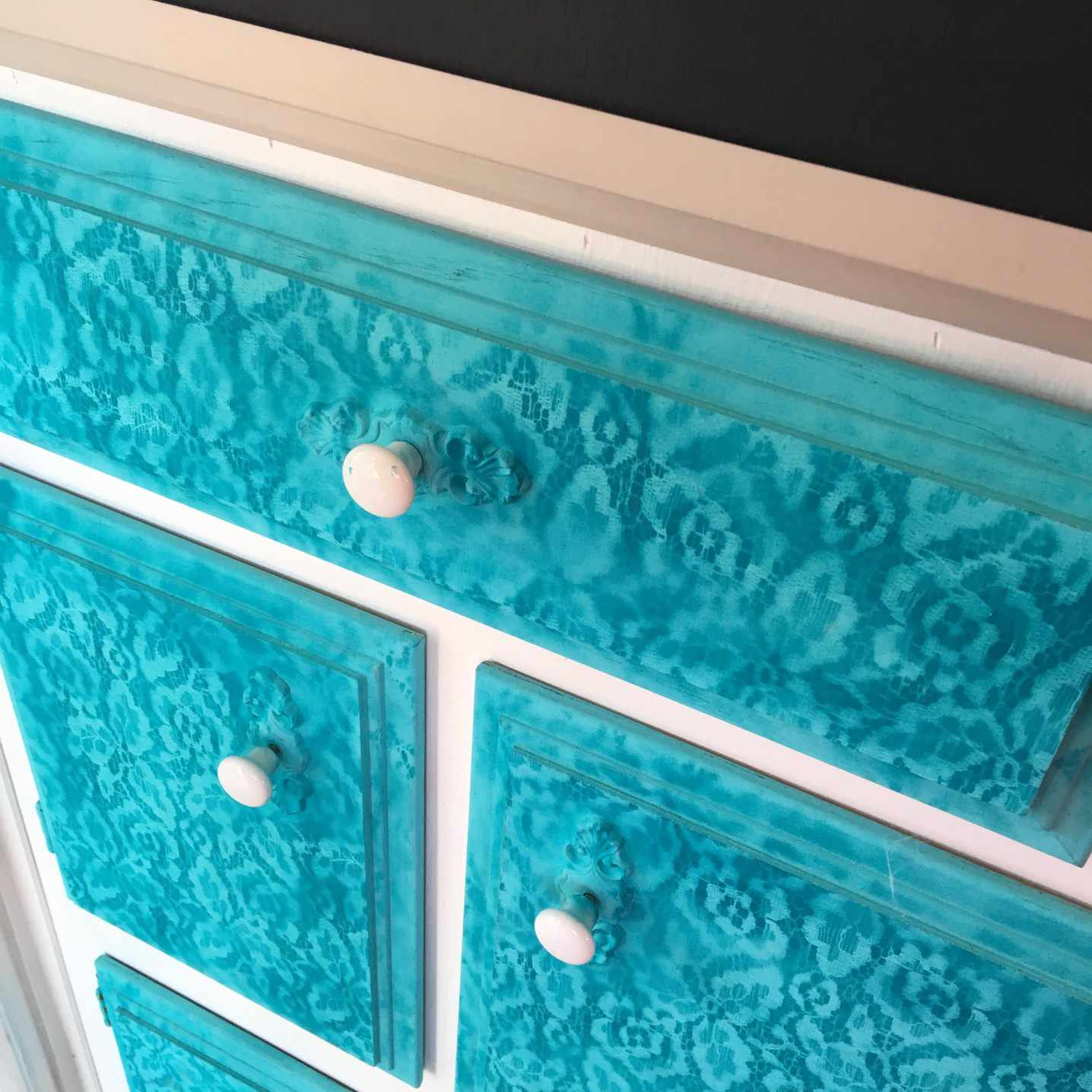 Aqua and lace painted teal furniture