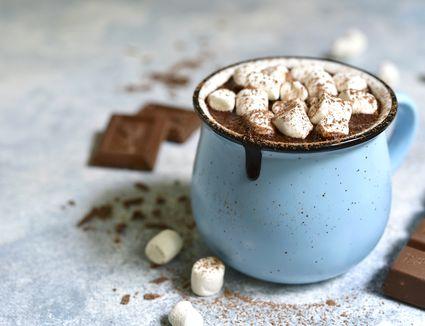 Homemade hot chocolate with mini marshmallow