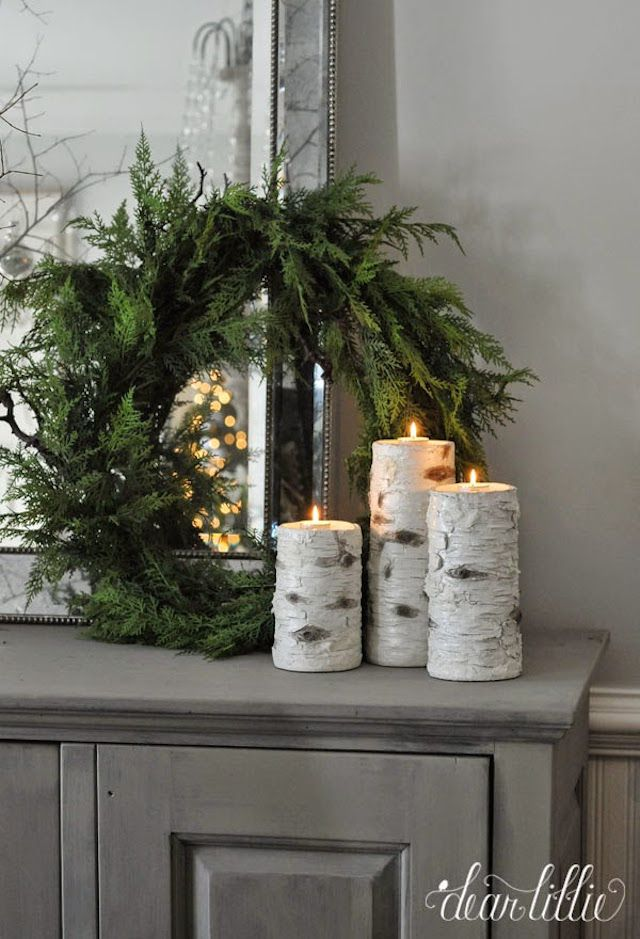 Wreath and birch wood candles