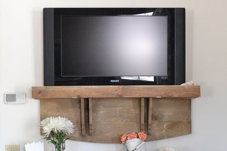 A Faux Tv Shelf For Concealing Cable Bo
