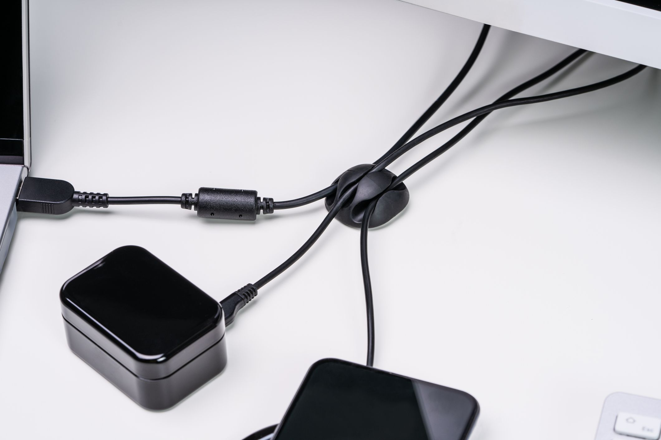 cable organizer at a desk