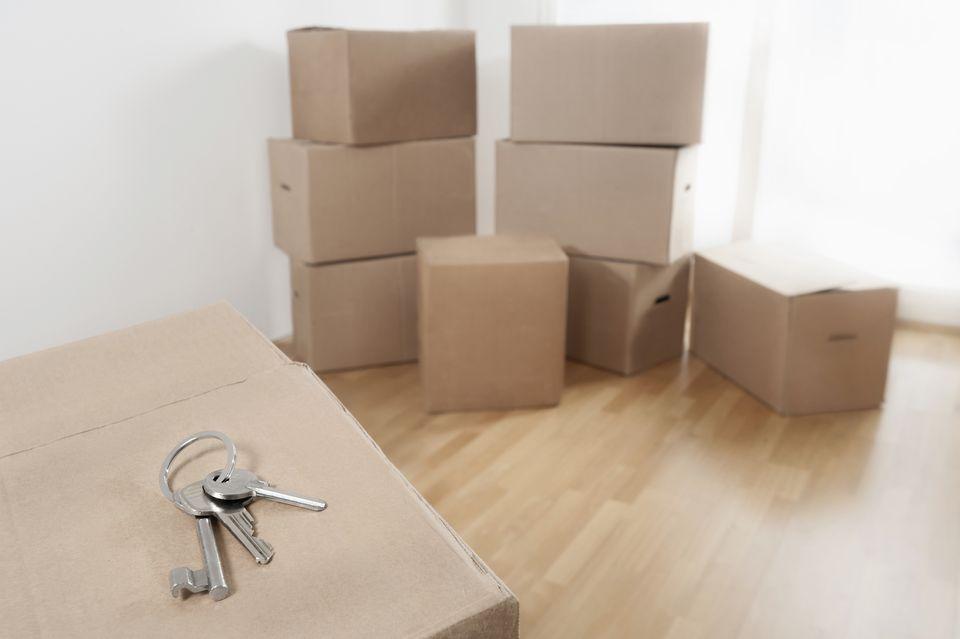 House Key on cardboard box in a room