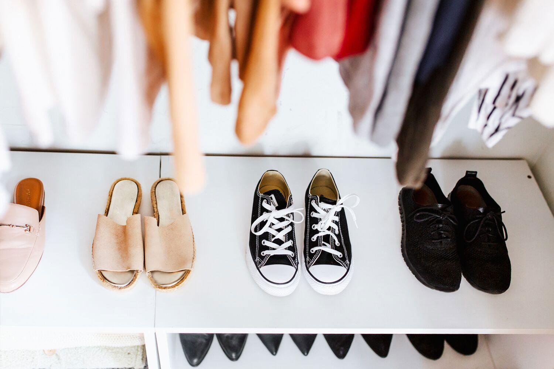 using the closet floor for storage