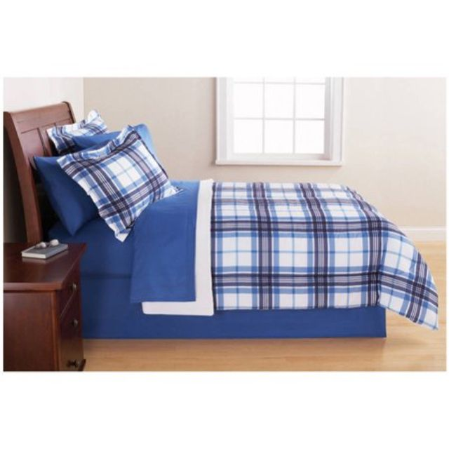 Mainstays Plaid Bed in a Bag Bedding Set
