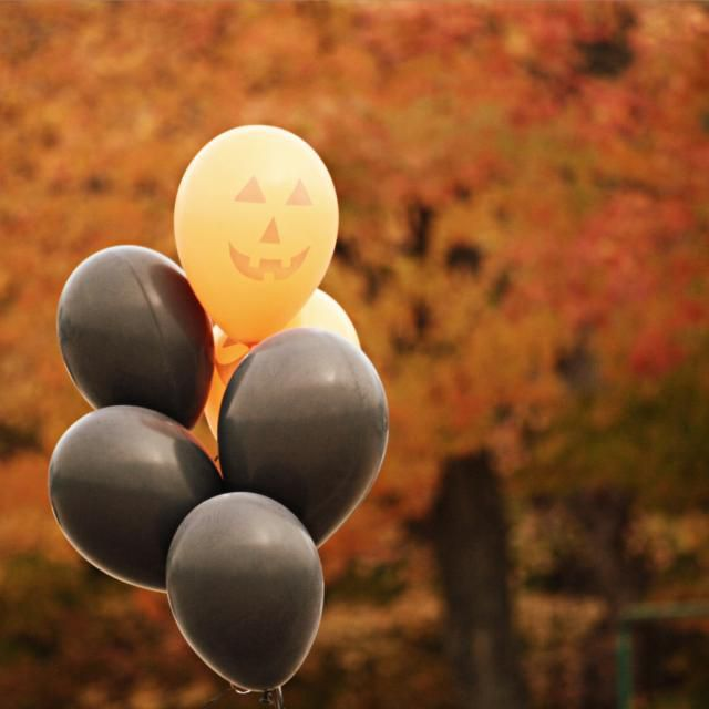 A group of Halloween balloons.