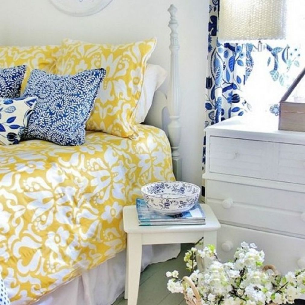 Yellow, blue and white bedroom