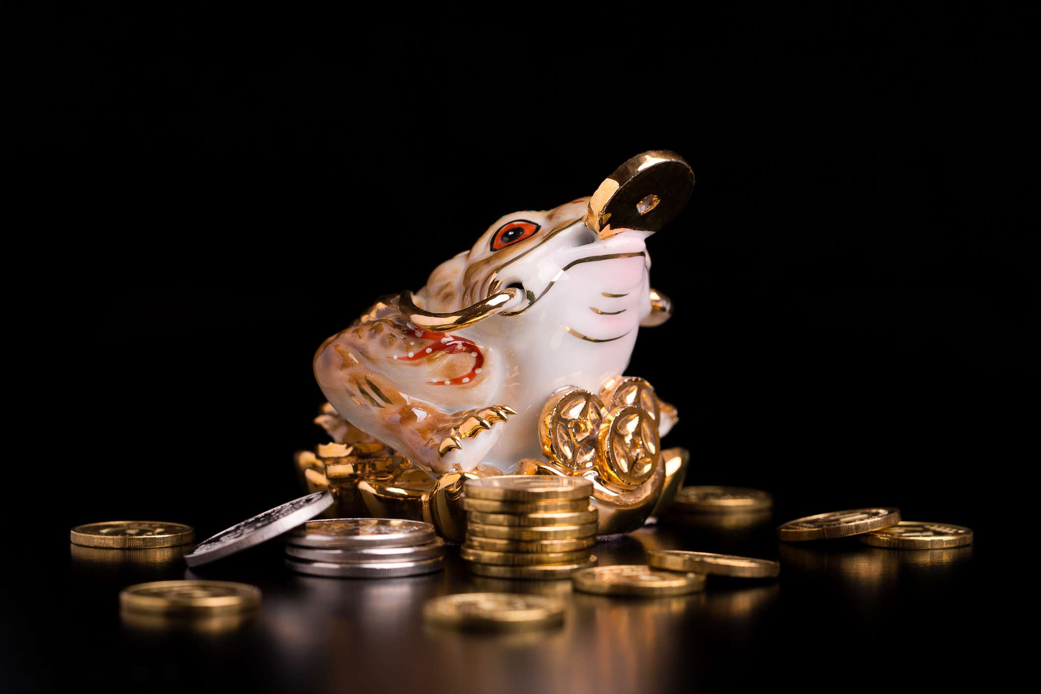 Figurine of the feng shui money toad with Chinese coins
