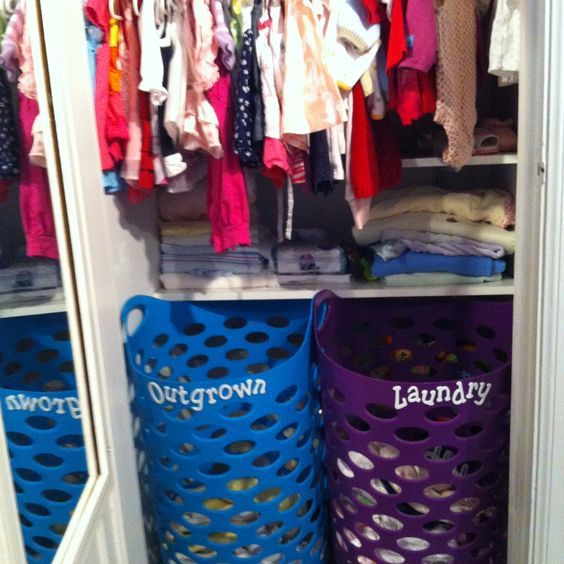 Nursery Closet Organization - Cast-off bin for outgrown baby clothes
