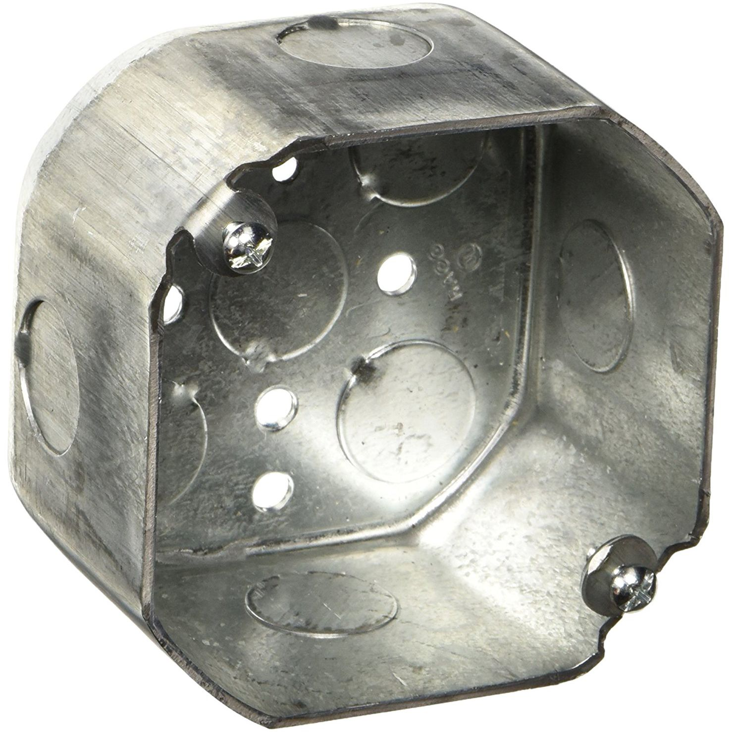 LOT OF 10 NEW STEEL OCTAGON//ROUND ELECTRICAL RECEPTACLE COVER