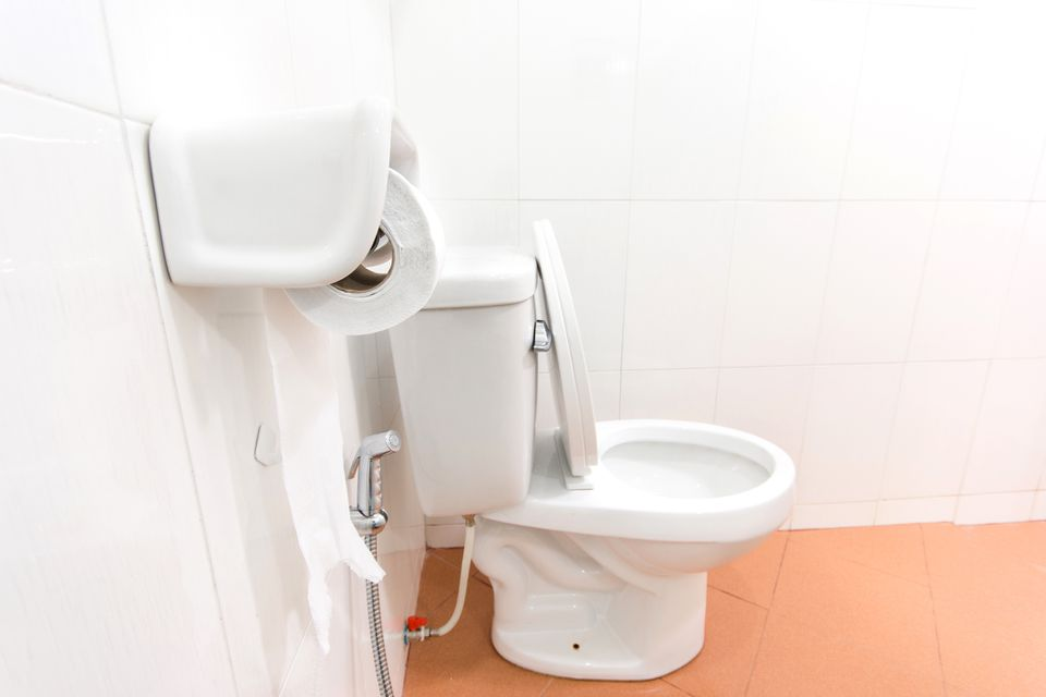 A fully-installed toilet