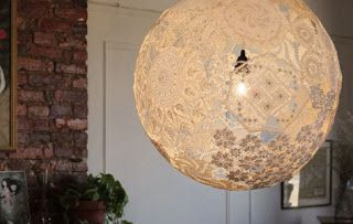 DIY lamp made from vintage lace doilies.