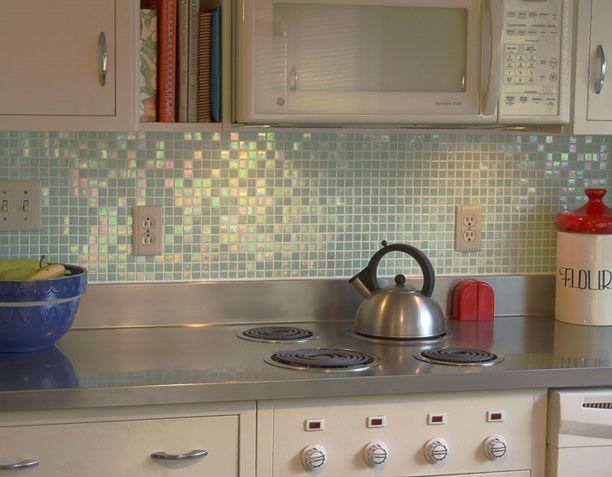Azulejo de salpicadero de cocina brillante