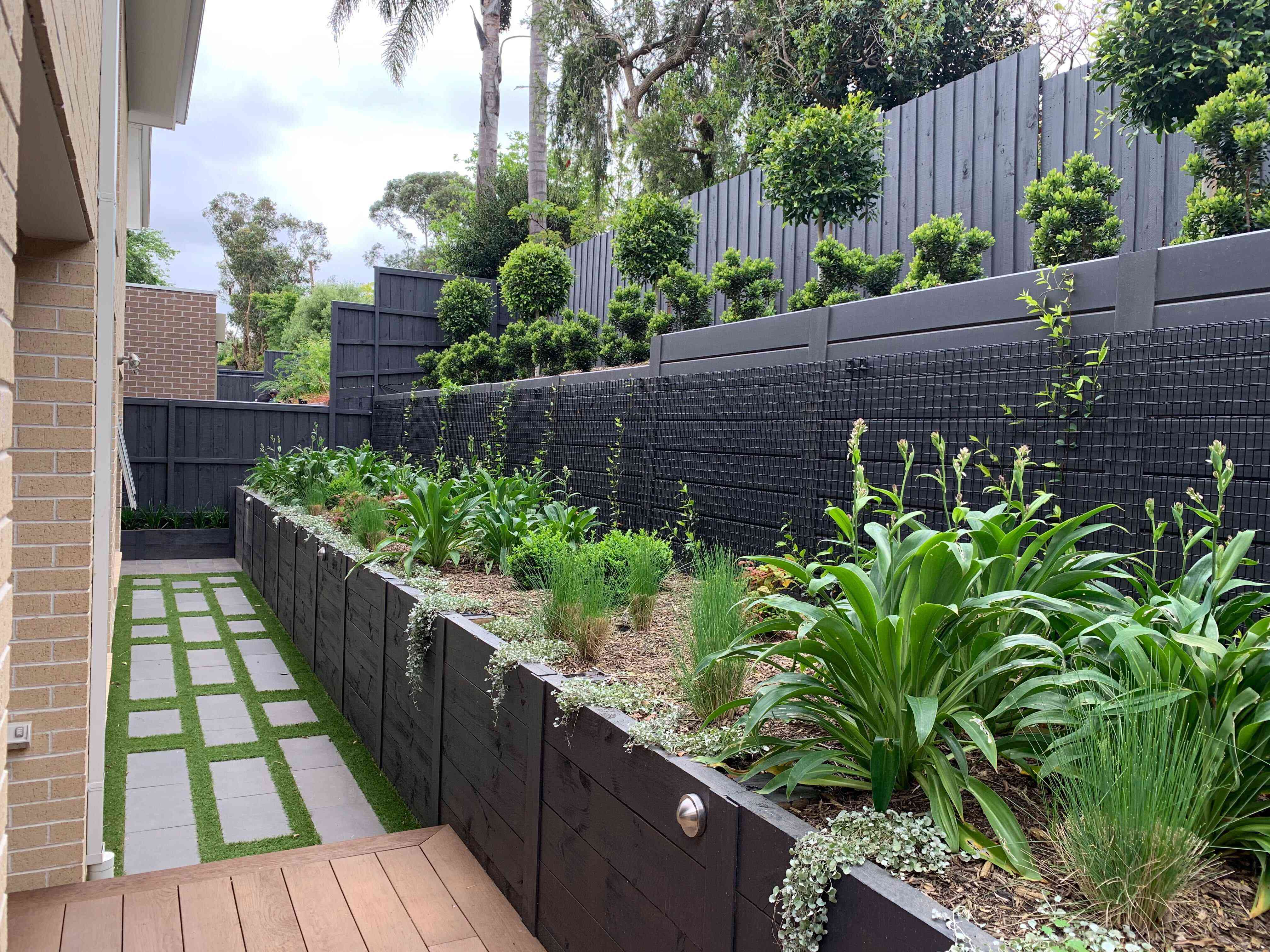 Timber teracced retaining wall example