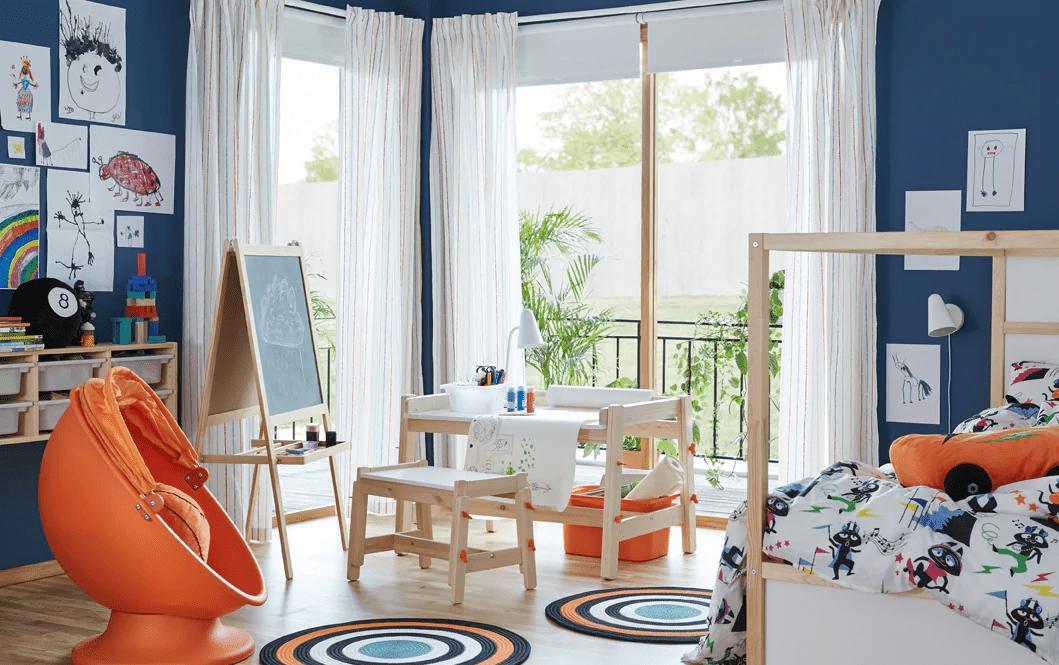 orange and blue kids room
