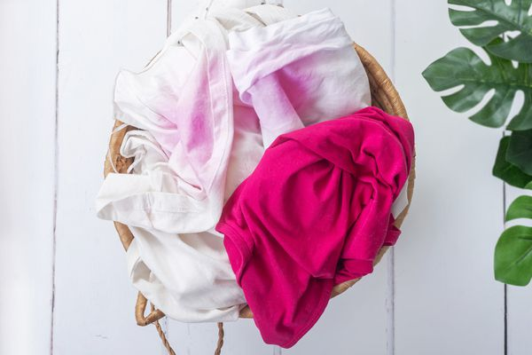 load of laundry with dye stains