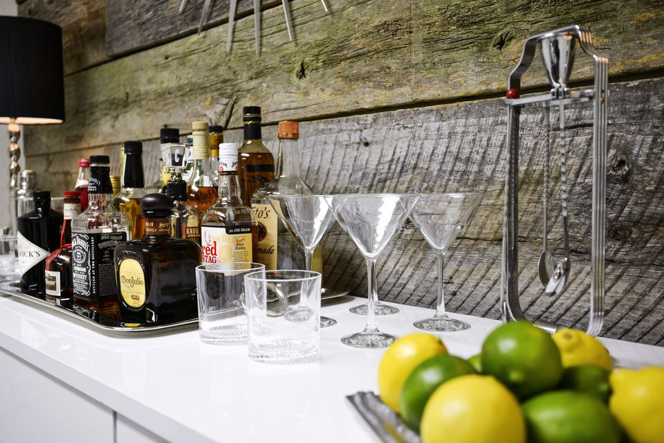 A stocked home bar