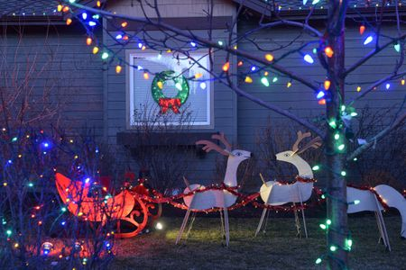 cutout christmas display with reindeer pulling a sleigh plus lights - Outdoor Christmas Decorating Ideas Pictures