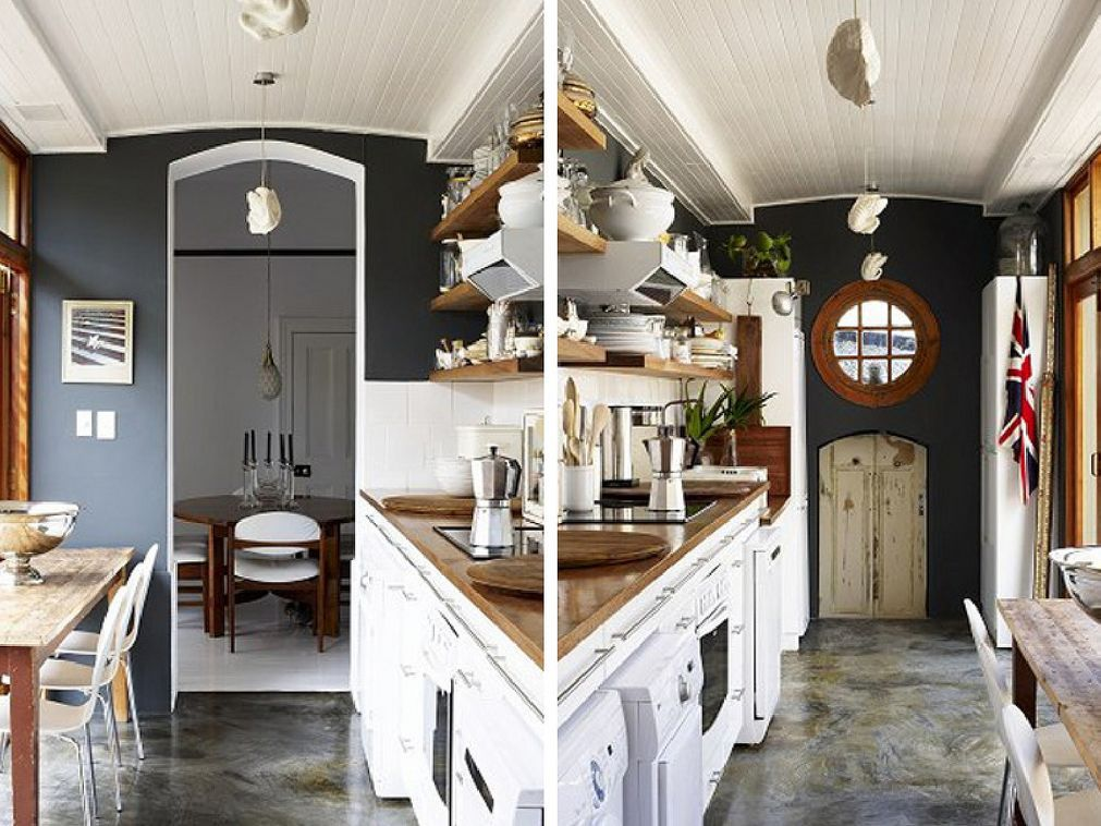Nautical Themed Galley Kitchen