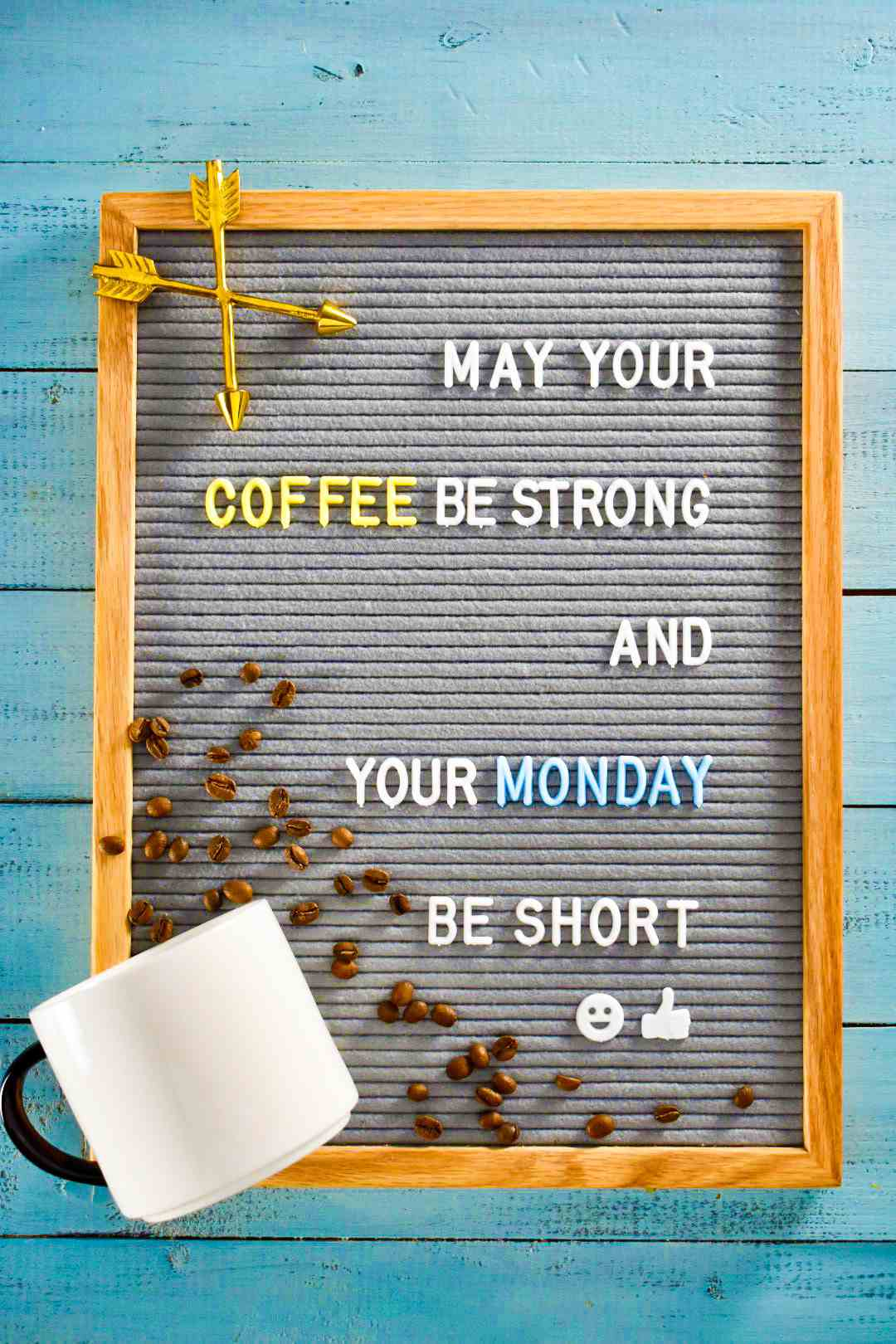 """letter board quote: """"May your coffee be strong and your monday be short"""""""