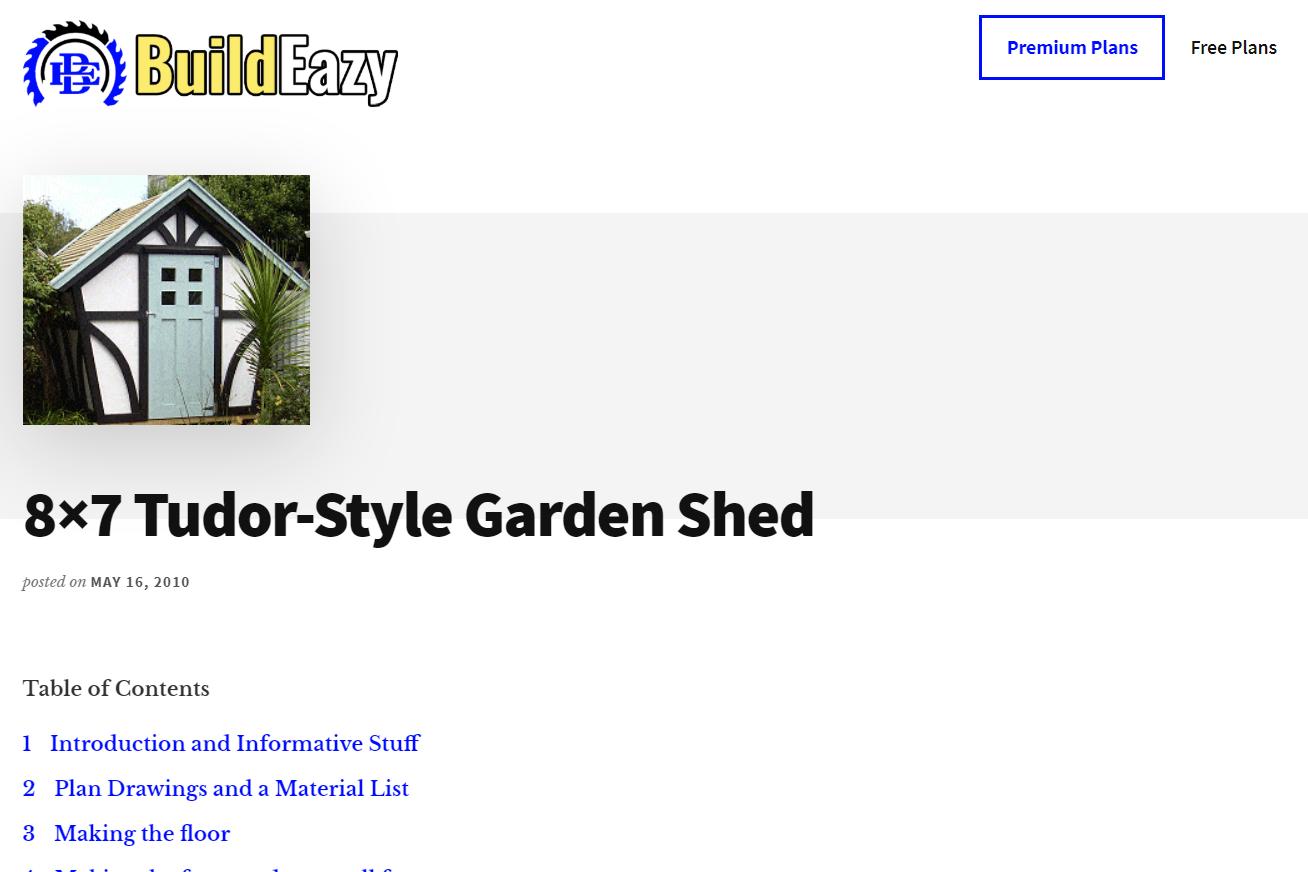 Captura de pantalla de los planes para construir un cobertizo de jardín estilo Tudor 8x7
