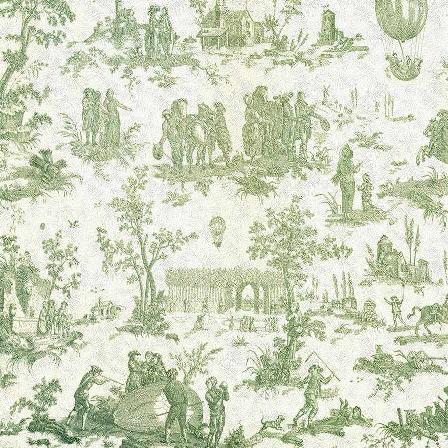 Toile in green and cream