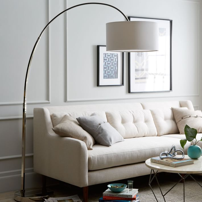 Best For High Ceilings Overarching Linen Shade Floor Lamp