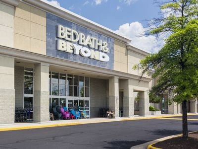 Entrance to large Bed Bath & Beyond store in Manassas, Virginia, USA