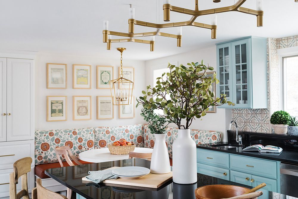 Contemporary blue kitchen designed by Twelve Chairs Boston