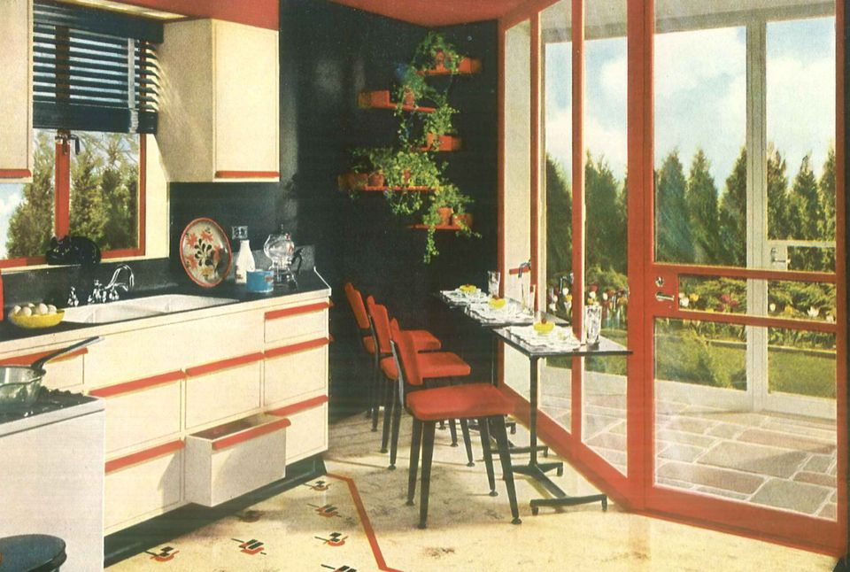 1940s Kitchen Design with Large Windows
