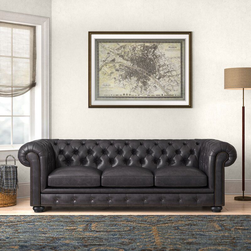 Adelbert 95'' Genuine Leather Chesterfield Sofa