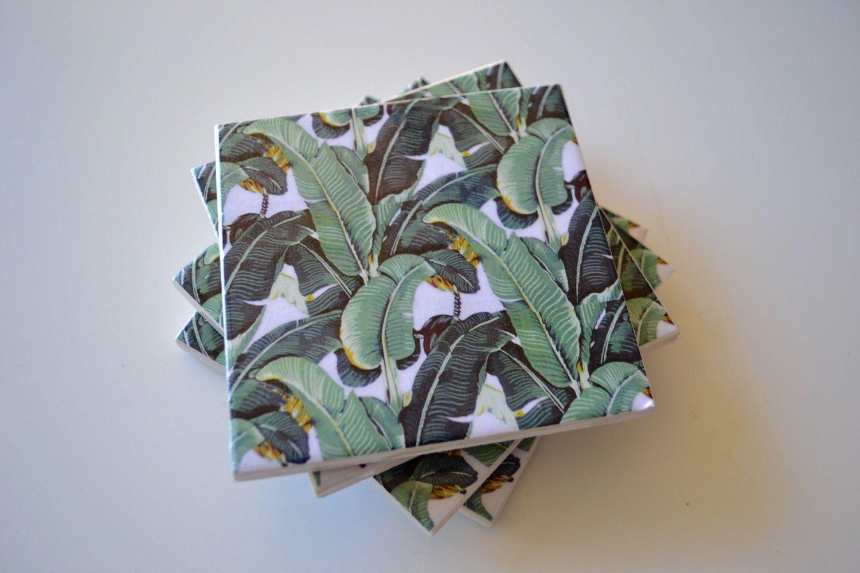 Posavasos de azulejos de cerámica con estampado de hoja de plátano