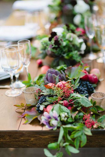 Centro de mesa para bodas de la granja de otoño a la guirnalda