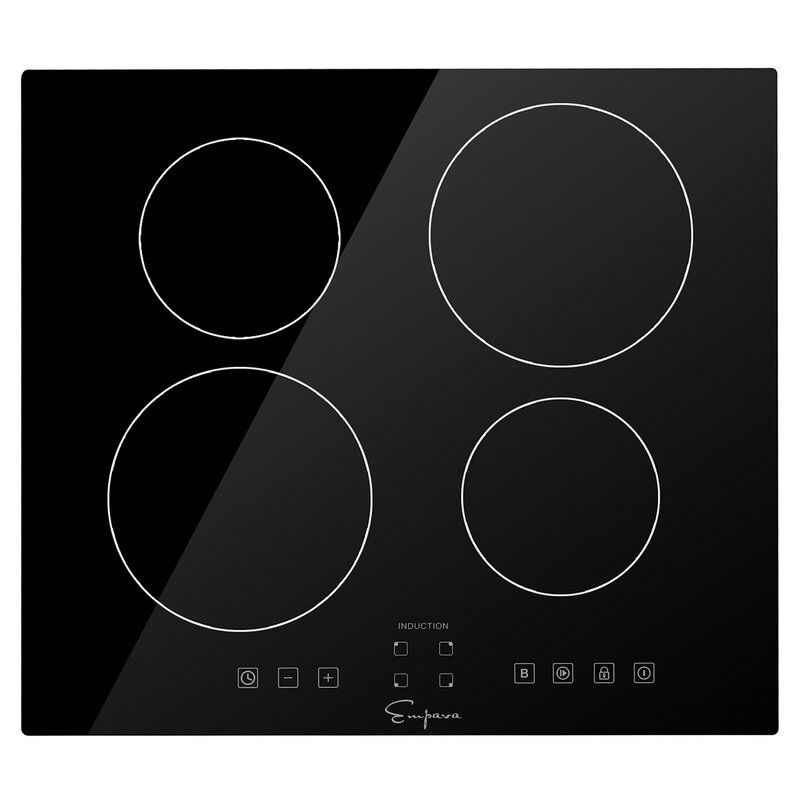 The Empava EMPV-IDC24 24 in. 4 Elements Black Induction Cooktop can be installed over a wall oven.