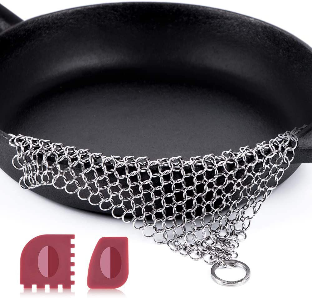 Amagabeli Stainless Steel Cast Iron Chainmail Scrubber