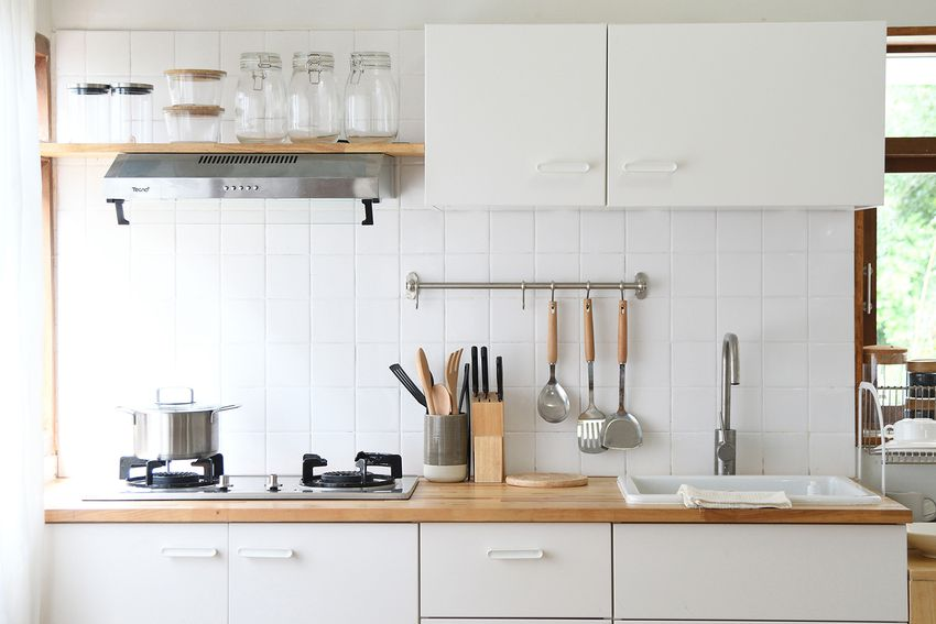 White modern kitchen room with cooking utensil simple lifestyle cooking at home