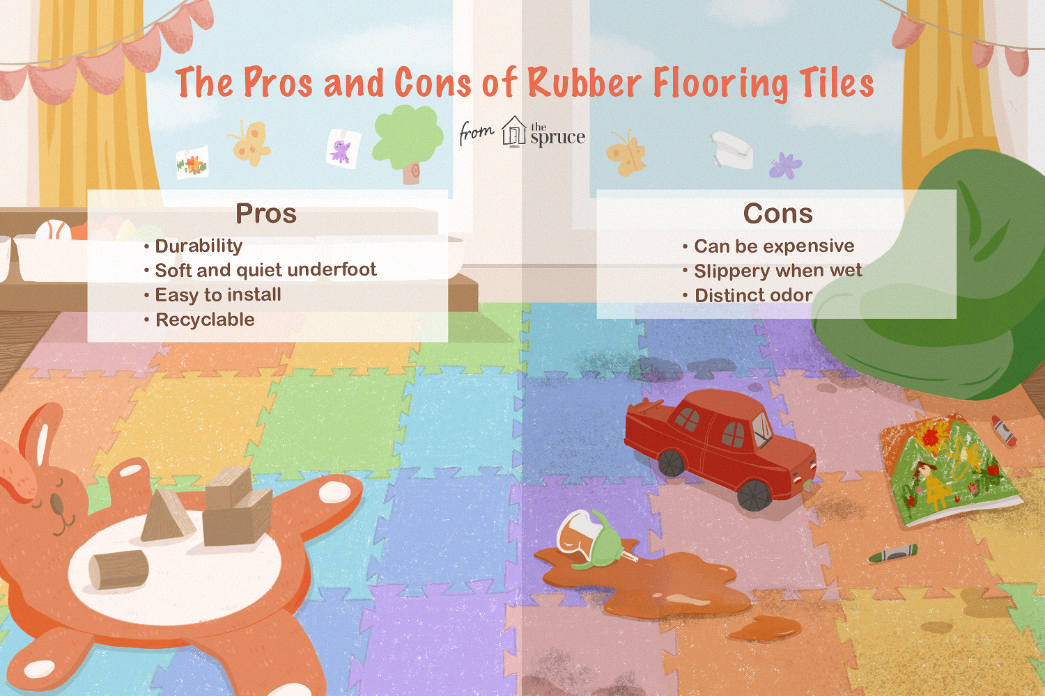 pros and cons of rubber flooring tiles illustration