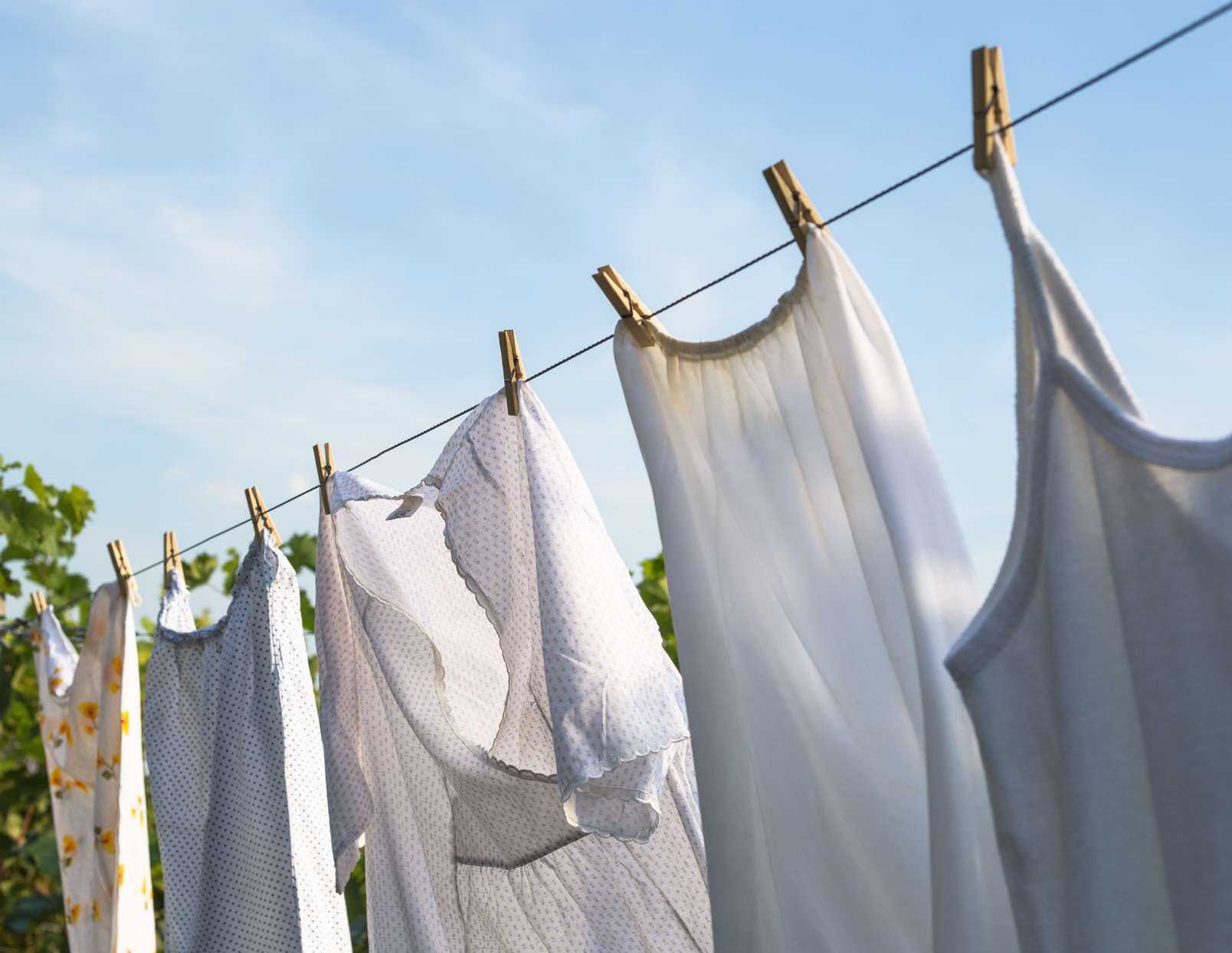 white clothing on a clothesline