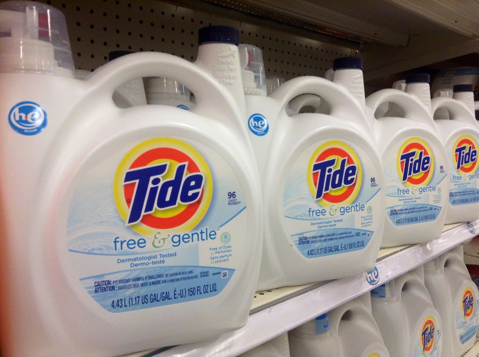 Tide HE Laundry Detergent lined on store shelves