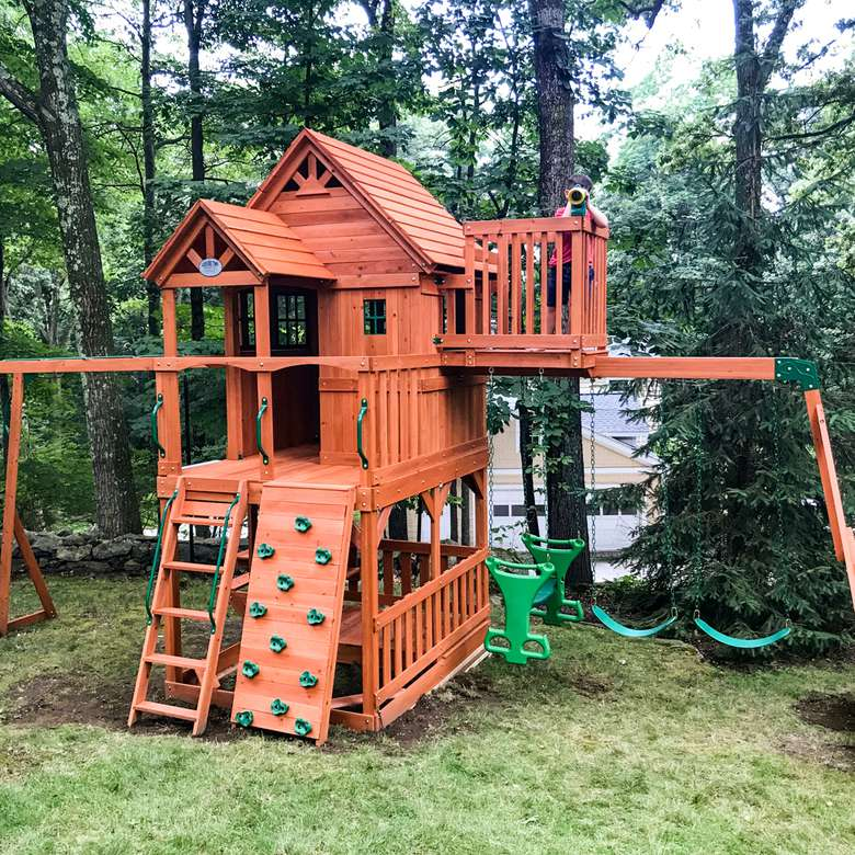 Backyard Discovery Skyfort II Wooden Swing Set
