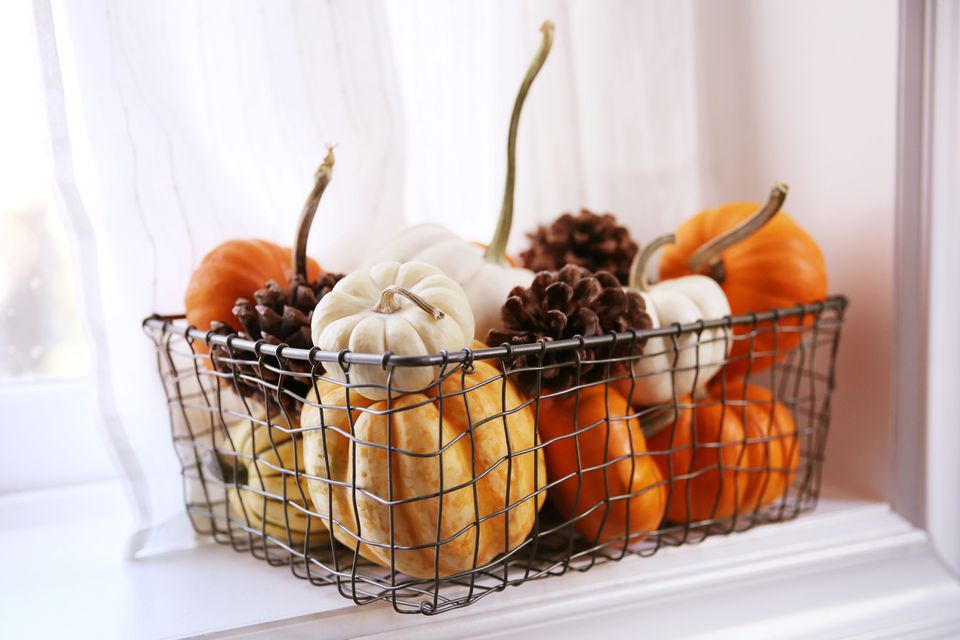 pumpkins in a wire basket