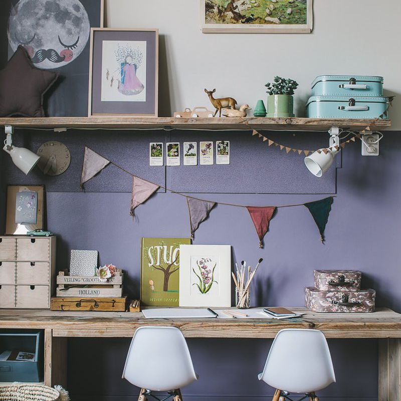 Kid-friendly work space and arts and craft station