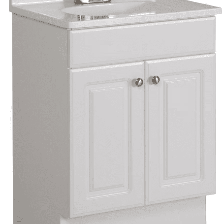 Project Source White Integral Single Sink Bathroom Vanity With Cultured Marble Top Common 24