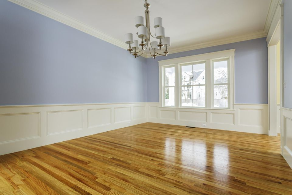 Custom home interior with wood flooring