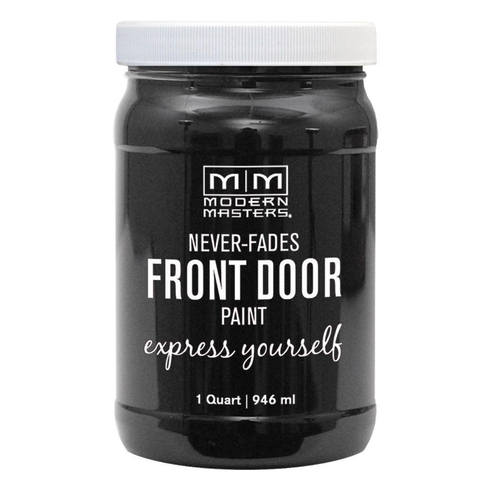 Express Yourself 1 qt. Satin Elegant Black Water-Based Front Door Paint