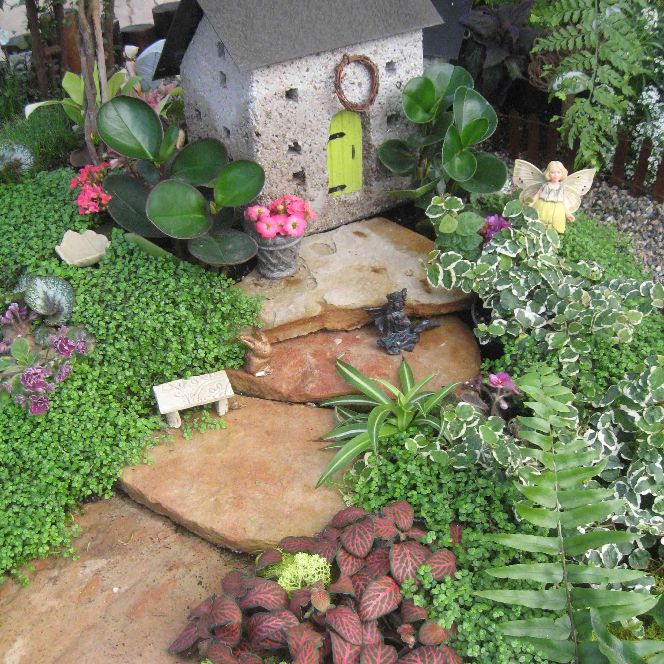 Miniature house in fairy garden.
