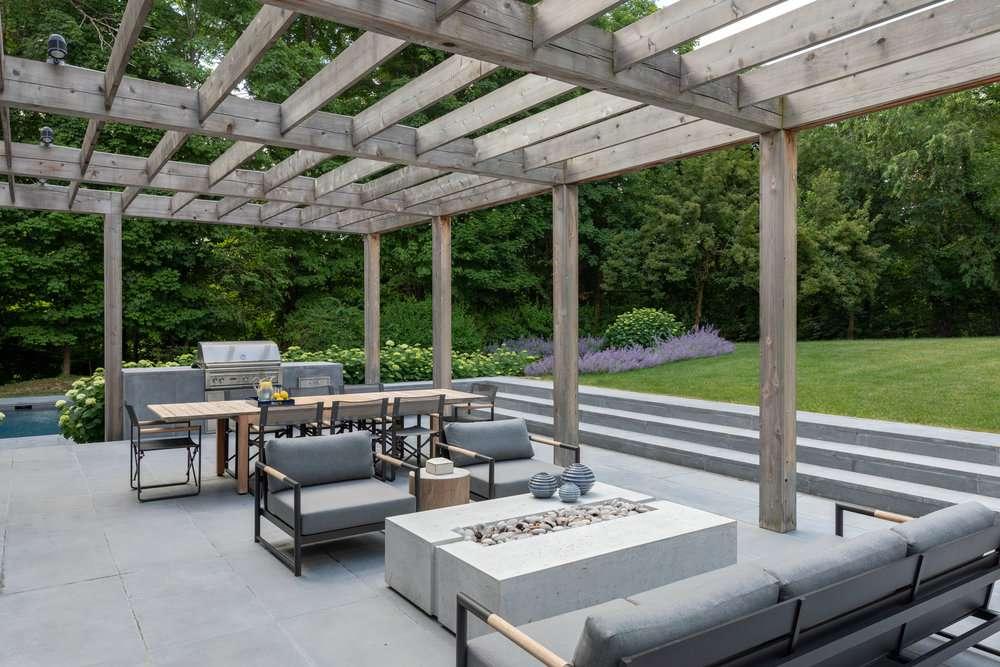 large al fresco lounge in backyard