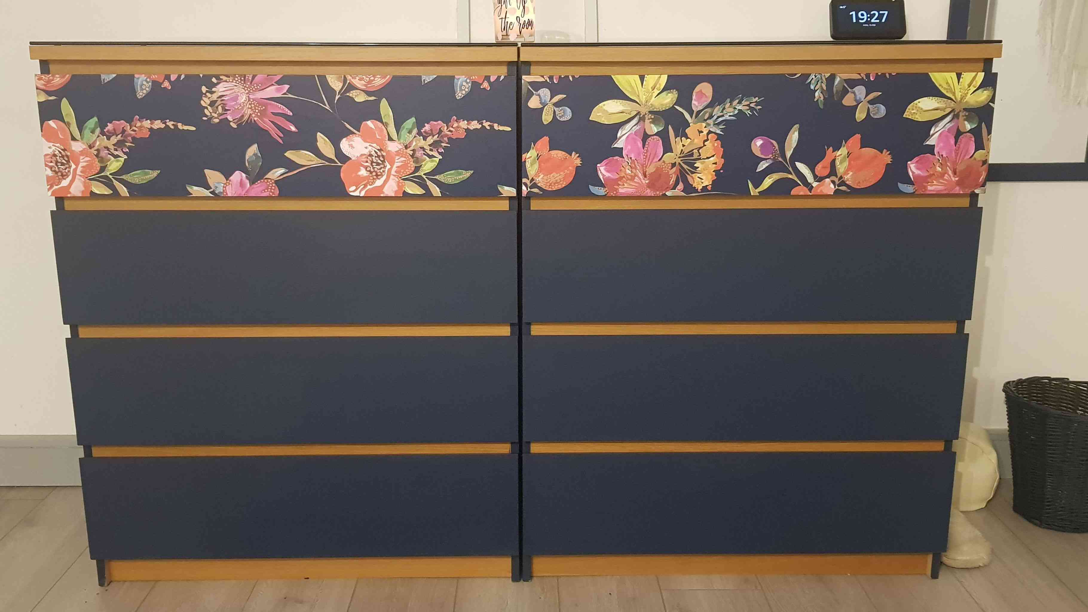 Two IKEA Malm dressers painted navy and gold