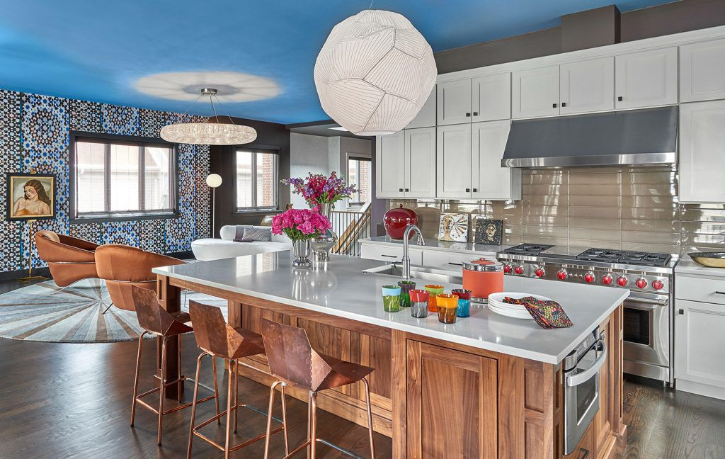blue ceiling in stunning gray and white kitchen